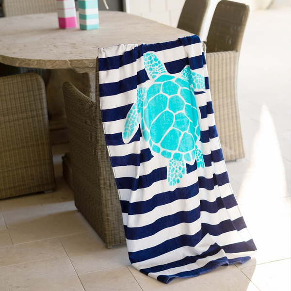 blue turtle stripe towel