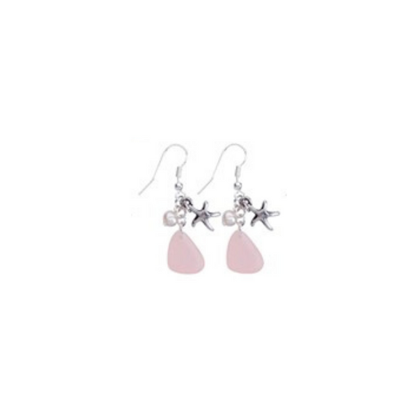 Frosted Bead Pearl Starfish Earrings