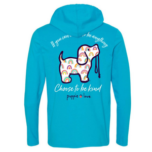 hoodie tee, dog tee, puppie love, Caribbean blue