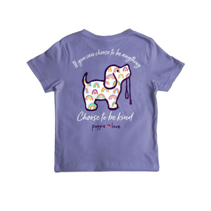 youth tee, be kind tee, violet youth tee, kids clothing