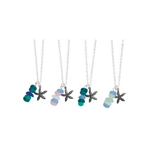 In-Line Sea Glass with Starfish Pendant Necklace