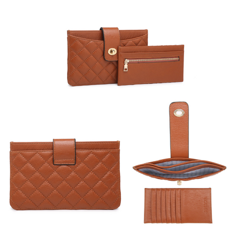 quilted wallet, flapover lock wallet