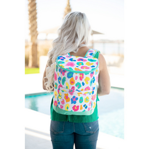 colored leopard cooler backpack