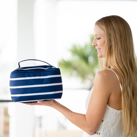 white and navy stripe cosmetic bag