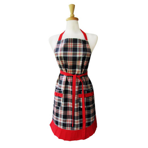 Man Plaid Ruffle Apron