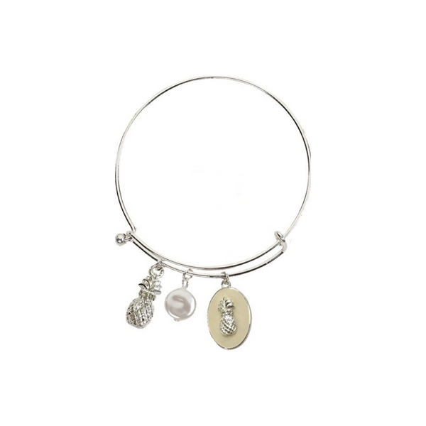 Enamel Pineapple and Pearl Slide Bracelet