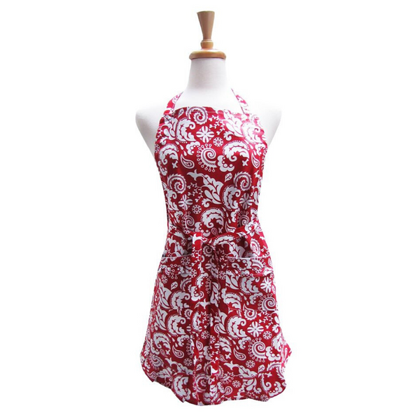Red Damask Apron