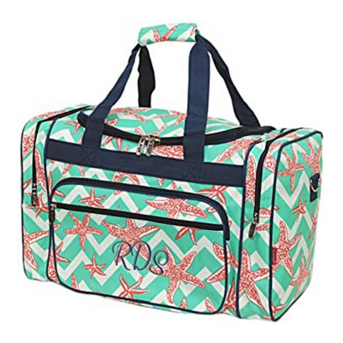 Starfish Aqua Green Chevron Duffle Bag 20""