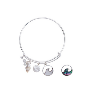 Mother of Pearl, Abalone Circle Wave Charm with Shell & Bead Slide Bracelet