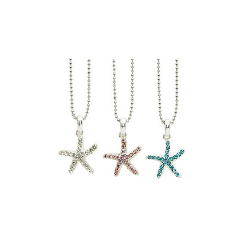 Rhinestone Starfish On Silver Finished Ball Chain Necklace