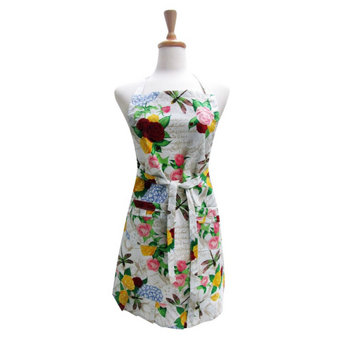 Rose Dragonfly Ruffle Apron