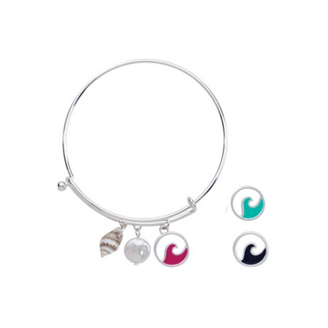 Enamel Circle Charm with Pearl Slide Bracelet