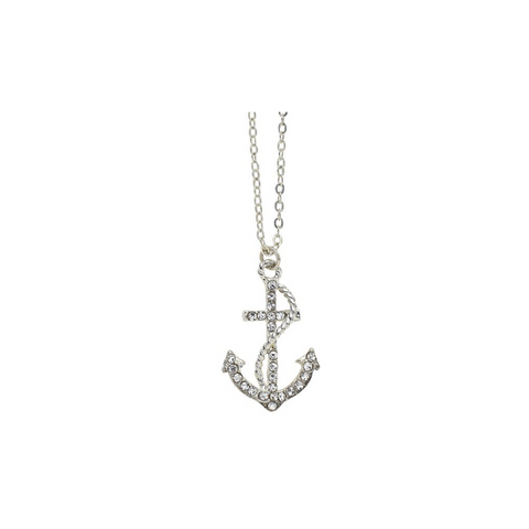 Rhinestone Anchor with Rope Silver Finished Chain Necklace