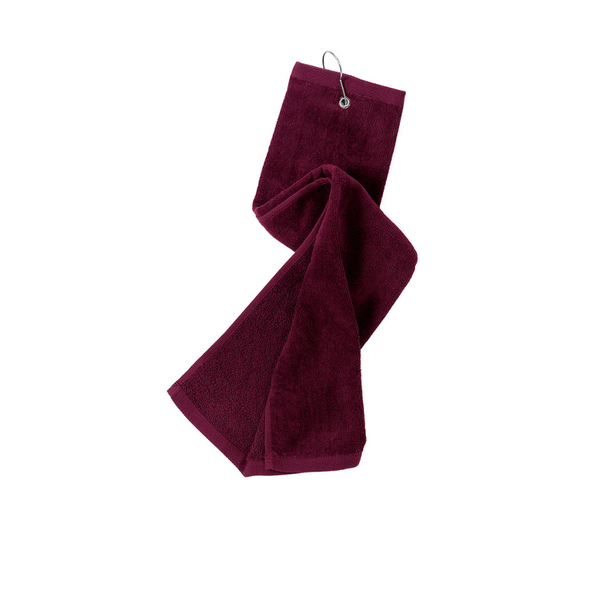maroon towel, golf towel