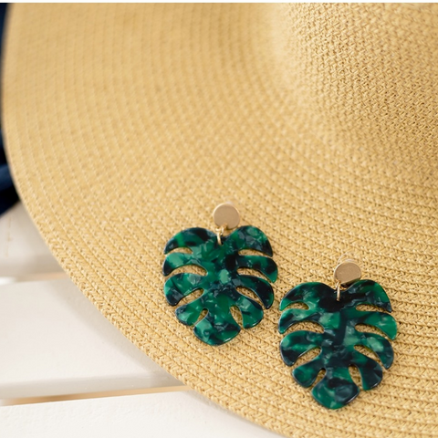 earrings green palm, dangling earrings