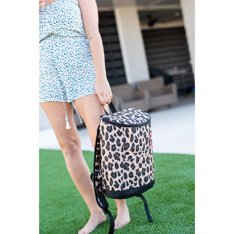 brown leopard cooler backpack