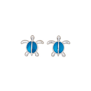 Blue Enamel Split Shell Post Earring