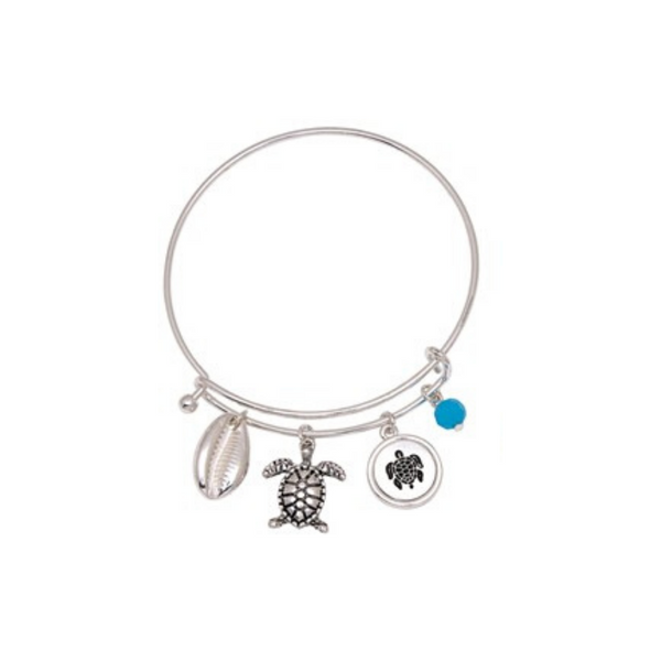 Sea Turtle and Cowry Shell Slide Bracelet