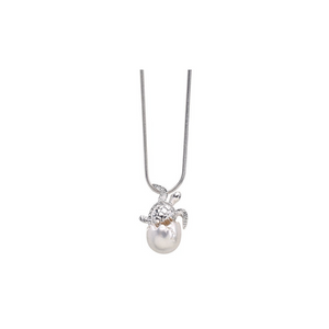 Hatching Turtle Egg on Snake Chain Necklace