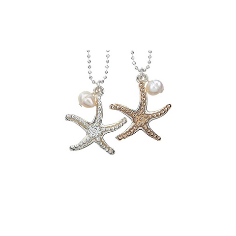 Textured Starfish with Pearl Bead Necklace
