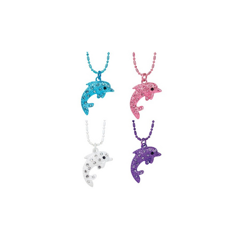 Rhinestone Dolphin Alloy Finished Ball Chain Necklace