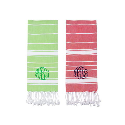 stripe towel, dish towel, hand towel, holiday towel