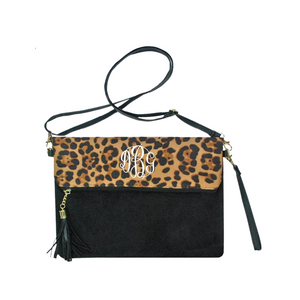 Leopard Fold Over Clutch