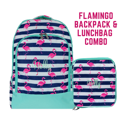 Pink Flamingo Backpack and Lunchbox Set