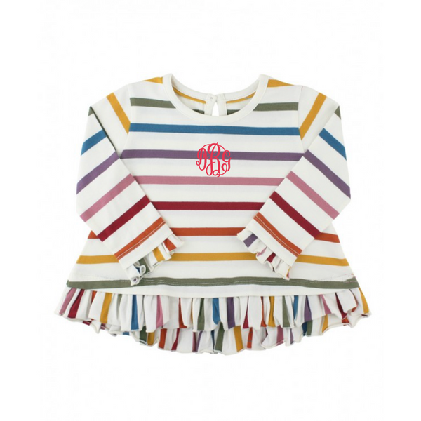 rainbow top, ruffle top, baby clothing