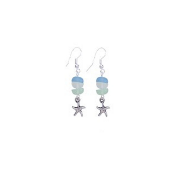 Frosted 3 Bead Starfish Pendant Earrings