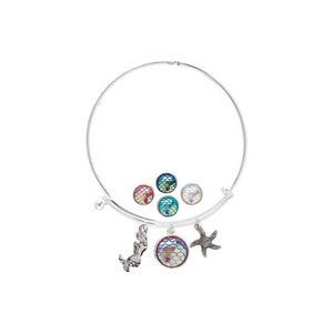 Mermaid & Scale Pendants with Starfish Slide Bangle Bracelet