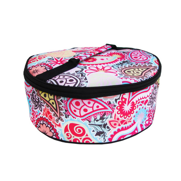 Pink Paisley Round Insulated Carrier