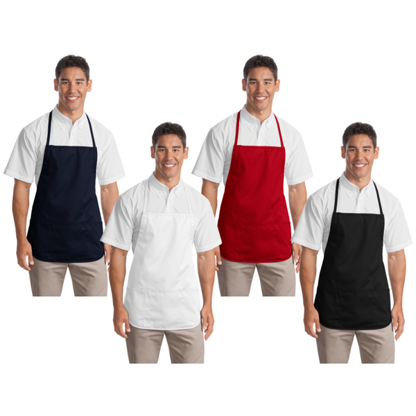 Personalized this Medium Length Apron with Three Patch Pockets