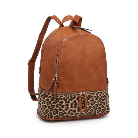 backpack brown leopard