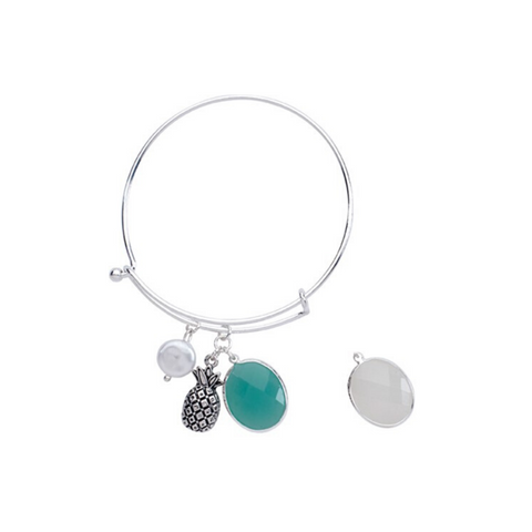 Frost Facet Bead with Pineapple Slide Bangle Bracelet