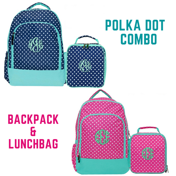 Polka Dot Backpack and Lunch Bag Combo with Mint Trim