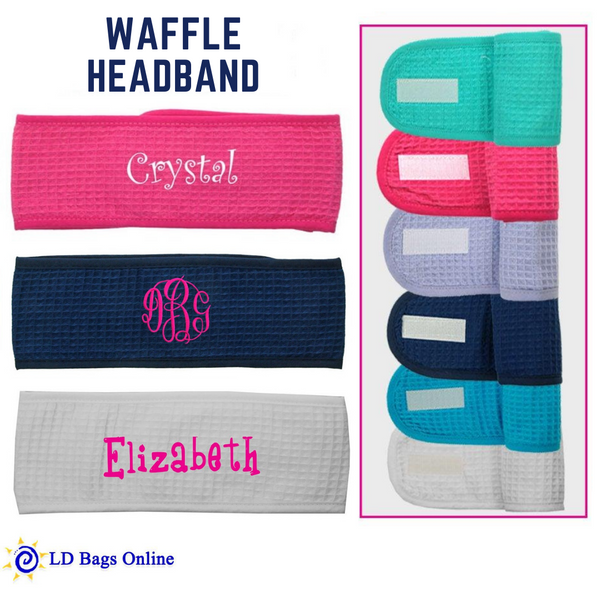 Personalized this Waffle Headband that comes in different colors to choose from