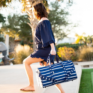 navy stripe duffle bag