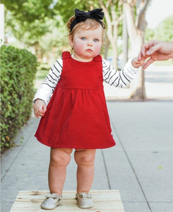 red corduroy dress, bow dress, red jumper, baby clothing