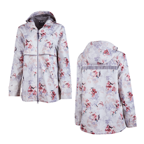 floral raincoat, floral rain jacket, outerwear, women's outerwear