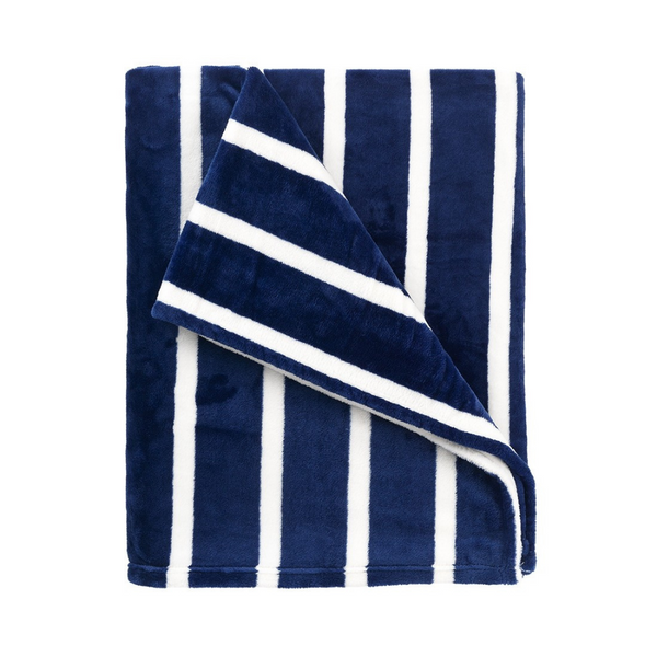 white and navy stripe blanket