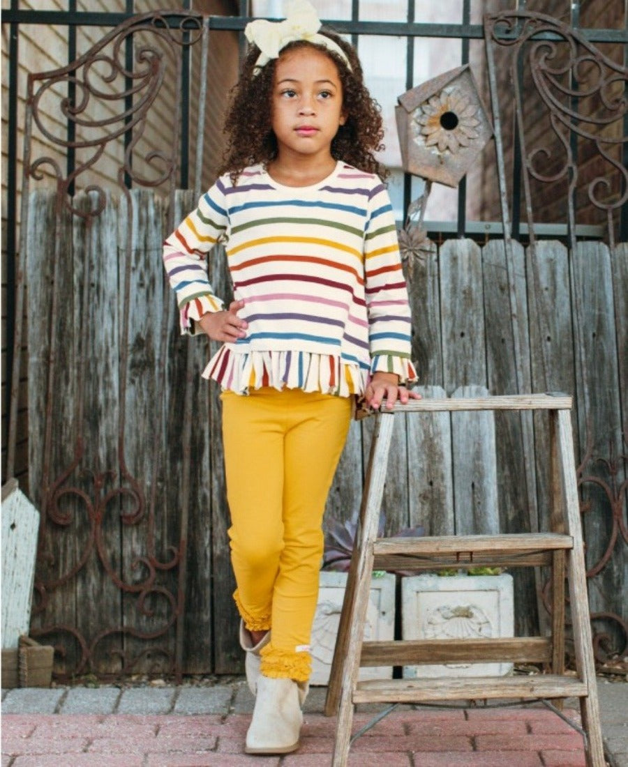 rainbow stripes top, ruffle hem, baby clothing, kids clothing