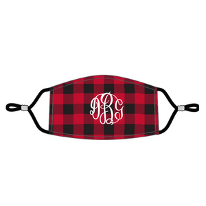 red buffalo check, red mask, adjustable mask