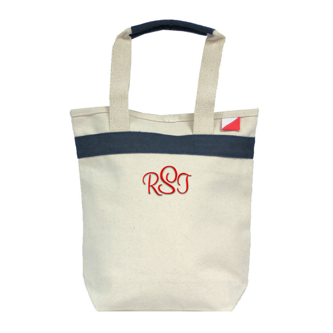 Personalized this Canvas Bag in Navy Trim, perfect to used as a wine bag.