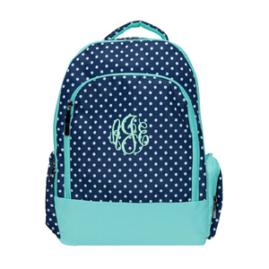 navy polka dot backpack