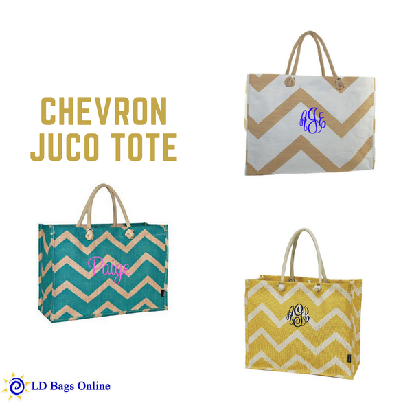 Personalized this Chevron Jute Bag, choose from the color we have and you are good to go.