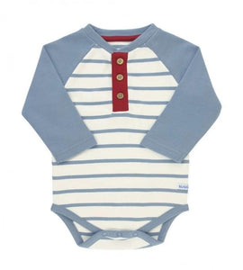 Personalized this Raglan Henley Slate Bodysuit, made to keep your little guy cute and comfy, can be used as a gift as well.