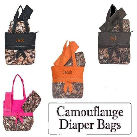 Personalized this Unisex Camo Woods Diaper Bag, it comes with bag changing pad and a convenient organizer bag.