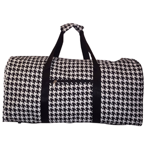 "houndstooth, black and white, duffle bag, duffle, 21"" duffle, houndstooth duffle"