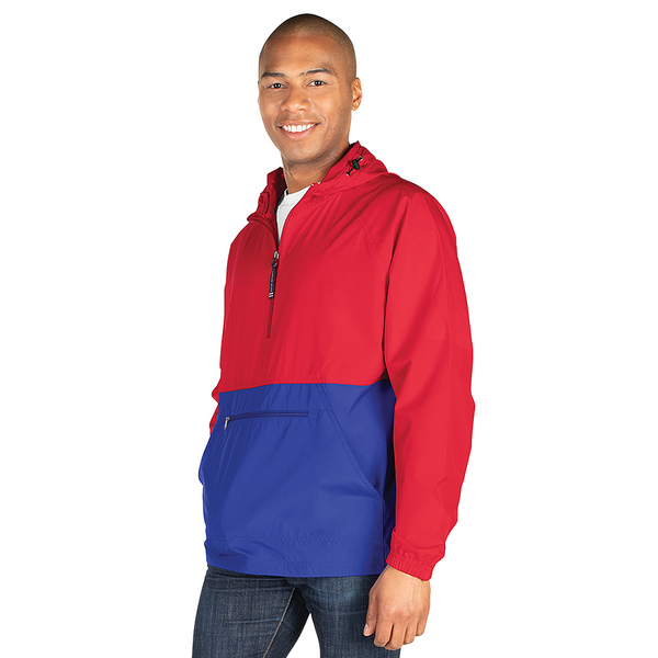 Color Blocked Pack and Go Rain Jacket